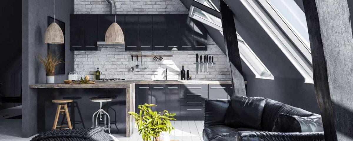 salon w czerni i bieli